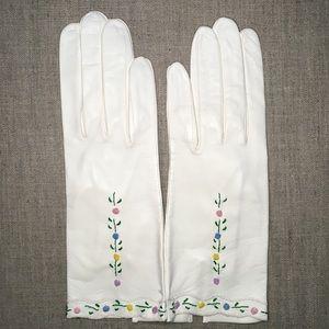NWT Vintage Capretto Gloves White Leather - Italy